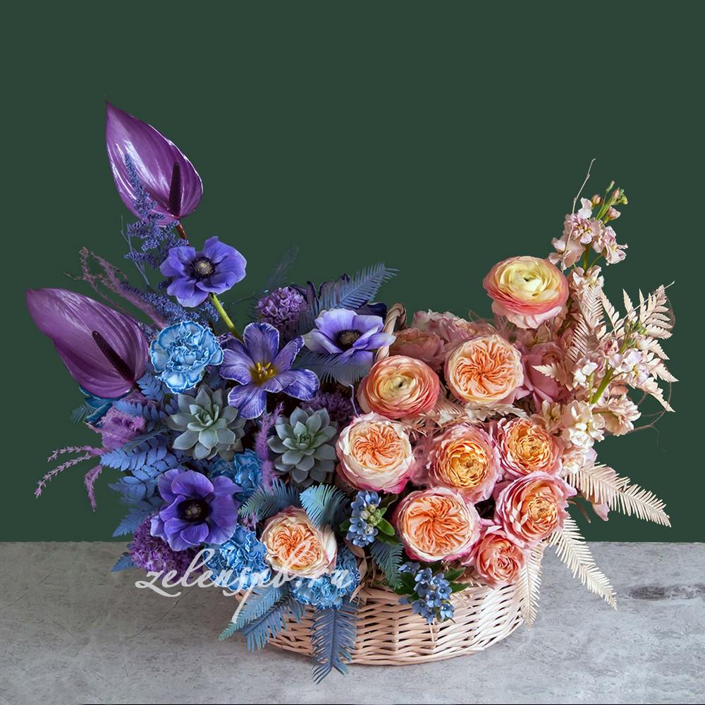 Корзина в фиолетово-оранжевой гамме №3 - купить цветы в Санкт Петербурге