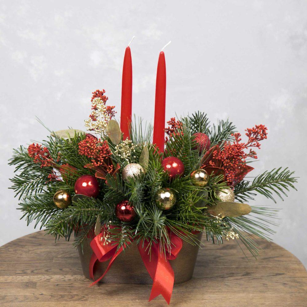Новогодняя композиция из натуральной ели со свечами №11 - купить цветы в Санкт Петербурге