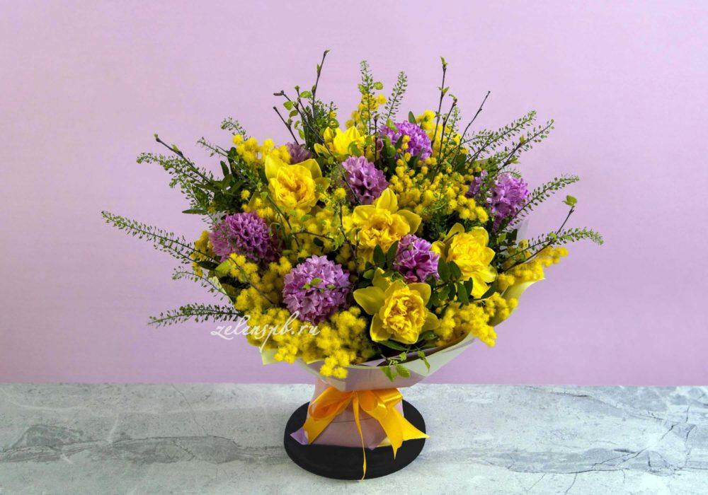 Букет с розовыми гиацинтами и мимозой №4 - купить цветы в Санкт Петербурге