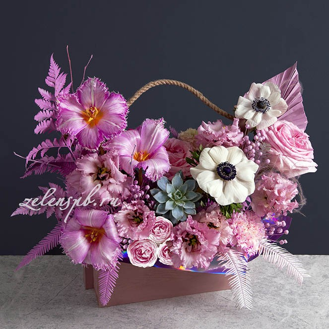 Ящик в розово-сиреневой гамме №4 - купить цветы в Санкт Петербурге